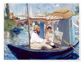 Póster  Monet painting on his studio boat - Edouard Manet