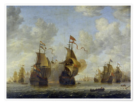 Póster  Naval Battle. - Jan Beerstraten