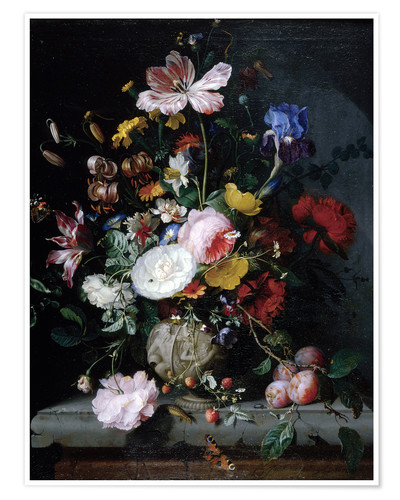 Póster Still life with flowers in a terracotta vase