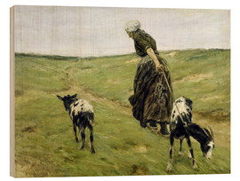 Cuadro de madera  Woman with goats in the dunes - Max Liebermann