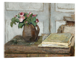Cuadro de metacrilato  Still life with the artist painting set and a vase with moss roses - Edouard Vuillard