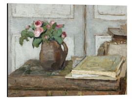 Cuadro de aluminio  Still life with the artist painting set and a vase with moss roses - Edouard Vuillard