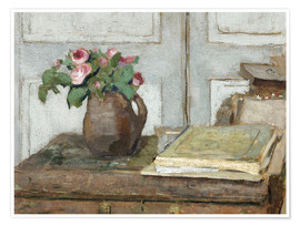 Póster Still life with the artist painting set and a vase with moss roses