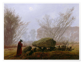 Póster Walk at dusk (man contemplating a megalithic grave)