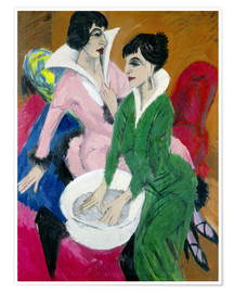 Póster  Dos mujeres con lavabo, Las hermanas - Ernst Ludwig Kirchner