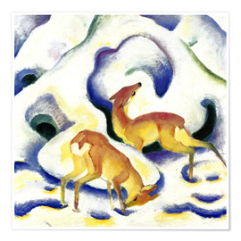 Póster  Deer in the snow - Franz Marc