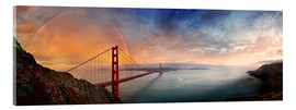 Cuadro de metacrilato  San Francisco Golden Gate with rainbow - Michael Rucker