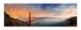 Póster  San Francisco Golden Gate with rainbow - Michael Rucker