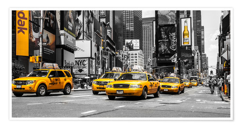 Póster Taxis amarillos en Times Square