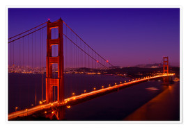 Póster  Golden Gate Bridge by Night - Melanie Viola
