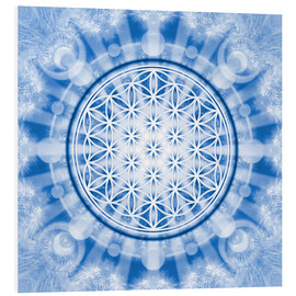 Cuadro de PVC  flower of life blue - symbol harmony and balance - blue - Lava Lova