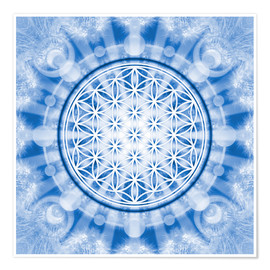 Póster flower of life blue - symbol harmony and balance - blue