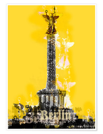 Póster Berlin Victory Column (on Yellow)