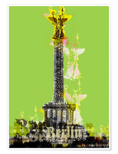 Póster Berlin Victory Column (on Green)