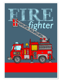 Póster Fire fighter, camión de bomberos