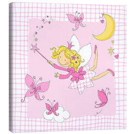 Lienzo  flying fairy with butterflies on checkered background - Fluffy Feelings