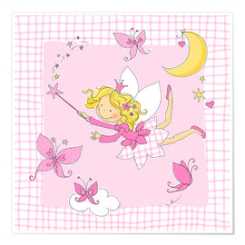 Póster  flying fairy with butterflies on checkered background - Fluffy Feelings