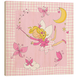 Cuadro de madera  flying fairy with butterflies on checkered background - Fluffy Feelings
