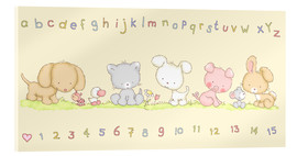 Cuadro de metacrilato  baby pet animals with alphabet and numbers - Fluffy Feelings