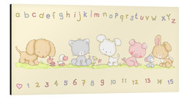 Cuadro de aluminio  baby pet animals with alphabet and numbers - Fluffy Feelings