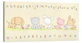 Lienzo  baby pet animals with alphabet and numbers - Fluffy Feelings