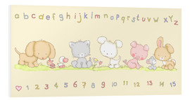 Cuadro de PVC  baby pet animals with alphabet and numbers - Fluffy Feelings