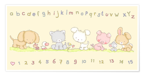 Póster baby pet animals with alphabet and numbers