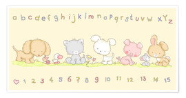 Póster  baby pet animals with alphabet and numbers - Fluffy Feelings