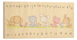 Cuadro de madera  baby pet animals with alphabet and numbers - Fluffy Feelings
