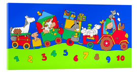 Cuadro de metacrilato  tractor train with farm animals and numbers - Fluffy Feelings