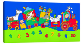 Lienzo  tractor train with farm animals and numbers - Fluffy Feelings