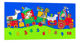 Cuadro de PVC  tractor train with farm animals and numbers - Fluffy Feelings