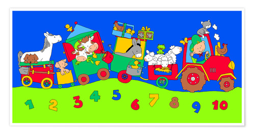 Póster tractor train with farm animals and numbers