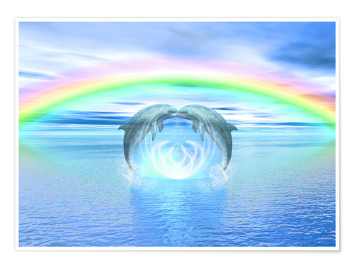 Póster Dolphins Rainbow Healing