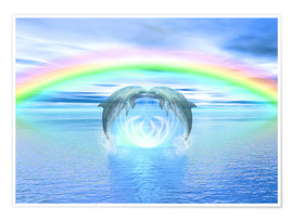 Póster  Dolphins Rainbow Healing - Dolphins DreamDesign