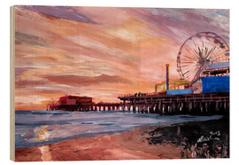 Cuadro de madera  Santa Monica Pier at Sunset - M. Bleichner