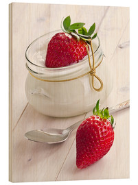 Cuadro de madera  Fresh strawberries with curd - Edith Albuschat