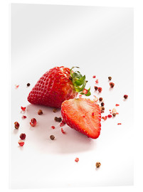 Cuadro de metacrilato  Strawberries with red peppercorns - Edith Albuschat