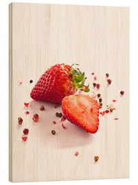Cuadro de madera  Strawberries with red peppercorns - Edith Albuschat