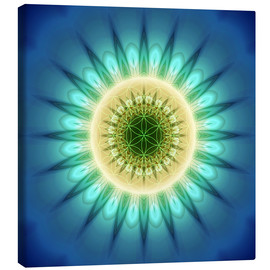 Lienzo  mandala blue light with Flower of Life - Christine Bässler