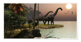 Póster  Two Brachiosaurus dinosaurs - Corey Ford