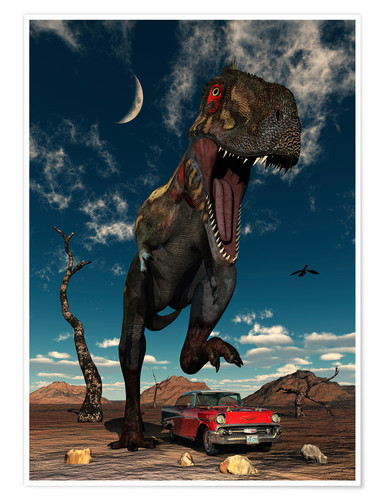 Póster A Tyrannosaurus Rex about to crush a Cadillac with his feet.