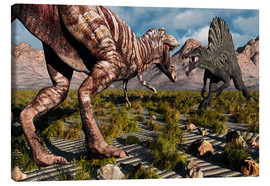 Lienzo  A confrontation between a T. Rex and a Spinosaurus dinosaur - Mark Stevenson