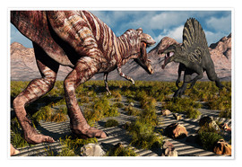 Póster  A confrontation between a T. Rex and a Spinosaurus dinosaur - Mark Stevenson