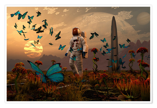 Póster A astronaut is greeted by a swarm of butterflies on an alien world.