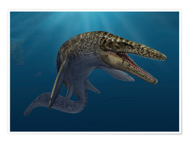 Póster Mosasaurus hoffmanni in prehistoric waters