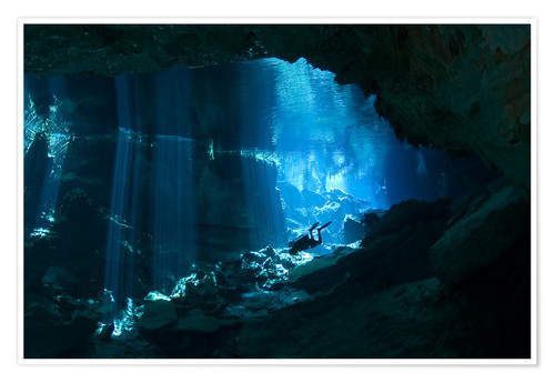 Póster Diver in a cave, Riviera Maya
