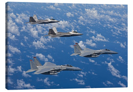 Lienzo  Two F-15 Eagles and F-22 - HIGH-G Productions