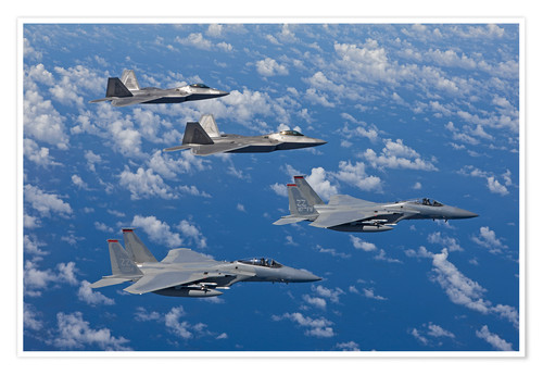 Póster Two F-15 Eagles and F-22