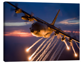Lienzo  C-130 Hercules releases flares - HIGH-G Productions